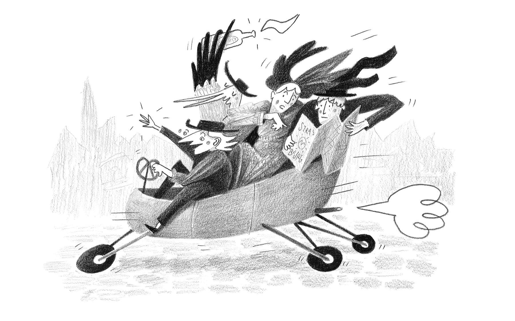 Illustration : plusieurs alsaciens et alsaciennes, ainsi qu'une cigogne, sont assis dans une voiture. Ils cherchent le restaurant dans Strasbourg.